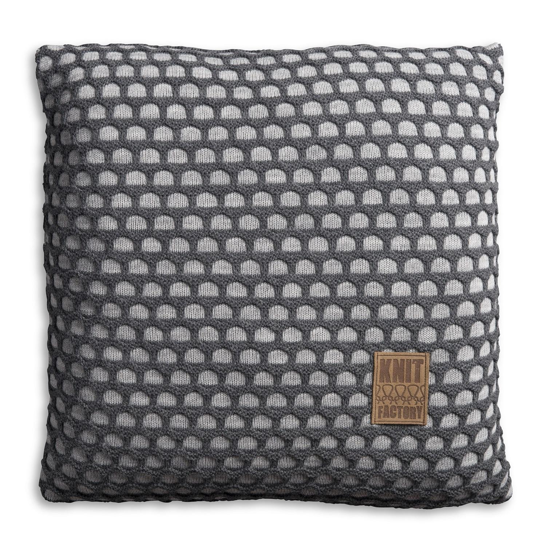 Knit factory gebreid kussen mila licht grijs antraciet 50x50 - Verpakking kussen x ...