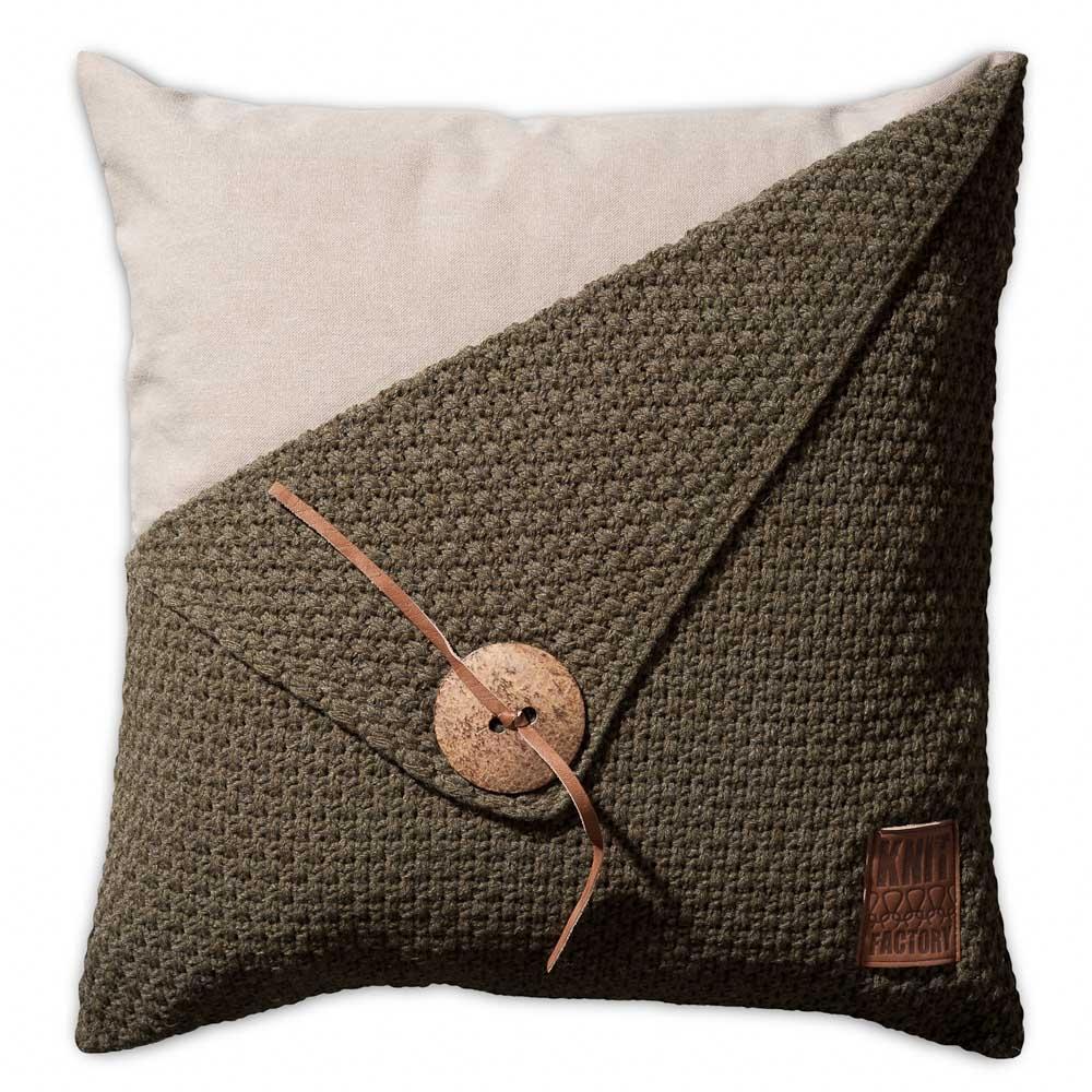 Knit Factory gebreid kussen gerstekorrel groen 50x50: BeauDecoration ...