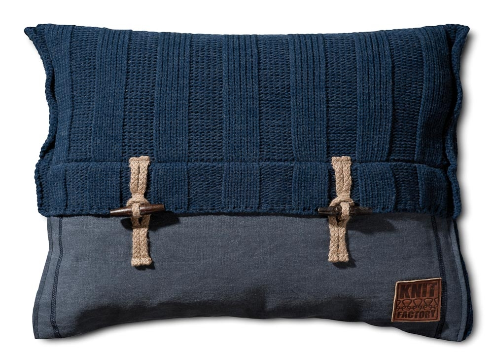 Gebreid kussen Rib jeans 60x40
