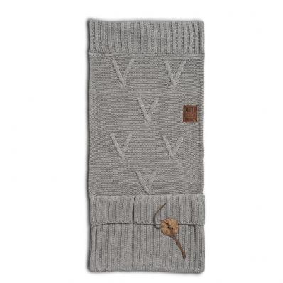 Knit Factory pocket aran lichtgrijs