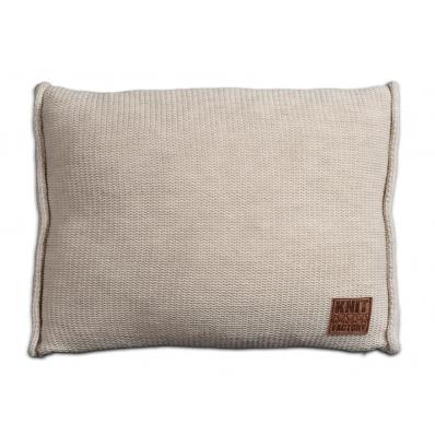Knit Factory gebreid kussen uni beige 60x40
