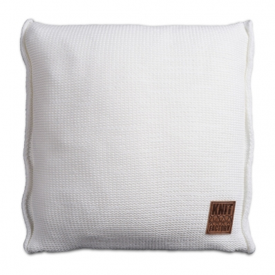 Knit Factory gebreid kussen uni wit 50x50