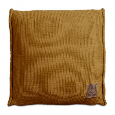 Knit Factory gebreid kussen uni oker 50x50 cm
