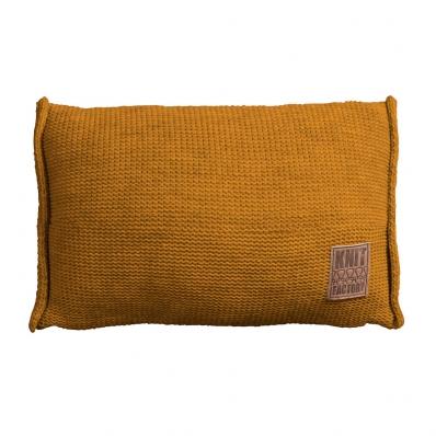 Knit Factory gebreid kussen uni oker 60x40